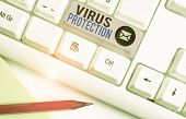 Writing Note Showing Virus Protection. Business Photo Showcasing Program Designed To Protect Compute poster