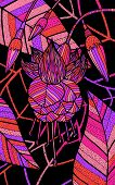 Fuchsia - Floral Illustration. Colorful Plant Drawing. Graphic Psychedelic Multicolored Line Art. Ve poster