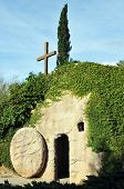 pic of gethsemane  - The outside of a replica of the Garden Tomb where Jesus was buried the stone rolled away from the entrance - JPG