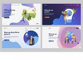 Set Of People Creating Green Environment. Flat Vector Illustrations Of People Managing International poster