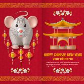 Happy Chinese New Year Background With Beautiful Pagoda, Creative Silver Rat And Hanging Lanterns. R poster
