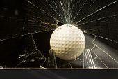 stock photo of dimples  - Golf ball flies through home glass window - JPG