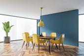Minimalistic Blue Dining Room Corner poster