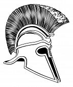 stock photo of hoplite  - Graphic of a bronze Trojan Helmet Spartan helmet Roman helmet or Greek helmet - JPG