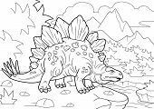 Cartoon Prehistoric Stegosaurus Dinosaur, Coloring Book, Funny Illustration poster
