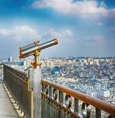 Vintage Coin Operated Binocular Observe Paris From Top Of The Eiffel Tower. Monocular Telescope At O poster