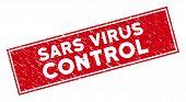 Sars Virus Control Stamp Seal With Frame. Red Vector Rectangular Distress Stamp With Sars Virus Cont poster