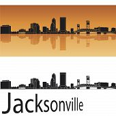 picture of florida-orange  - Jacksonville skyline in orange background in editable vector file - JPG