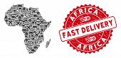 Delivery Collage Africa Map And Distressed Stamp Watermark With Fast Delivery Text. Africa Map Colla poster