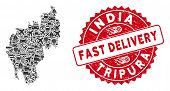 Deliver Mosaic Tripura State Map And Corroded Stamp Seal With Fast Delivery Badge. Tripura State Map poster