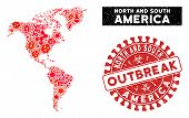Fever Mosaic South And North America Map And Red Grunge Stamp Watermark With Outbreak Text. South An poster