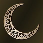 Laser Cut Template For Wedding Invitation Card. Christmas Carved Openwork Half Moon. Graphic Vector  poster