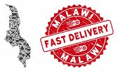 Delivery Collage Malawi Map And Corroded Stamp Watermark With Fast Delivery Phrase. Malawi Map Colla poster