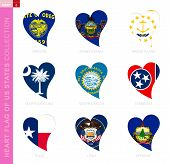 Сollection Of Us State Flags In The Shape Of A Heart. 9 Heart Icon With State Flag Of Oregon, Pennsy poster