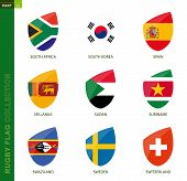 Rugby Flag Collection. Rugby Icon With Flag Of 9 Countries: South Africa, South Korea, Spain, Sri La poster