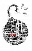 foto of time-bomb  - Stress and  related words in word collage - JPG