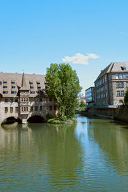 image of regnitz  - River Regnitz and houses in Nuremberg, Germany ** Note: Slight graininess, best at smaller sizes - JPG