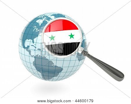 Magnified Flag Of Syria With Blue Globe