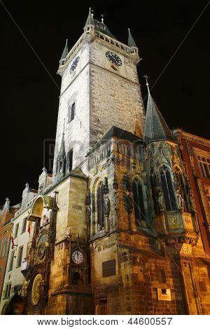 Tower With Astronomical Clock At Prague City, Czech Republic