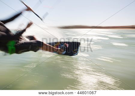 Kiteboarder In Motion