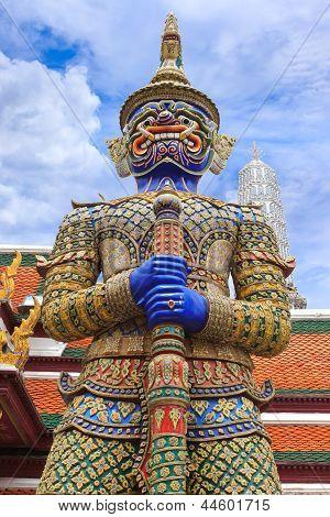 Demon Guardian At Wat Phra Kaew, Temple Of The Emerald Buddha, Bangkok, Thailand