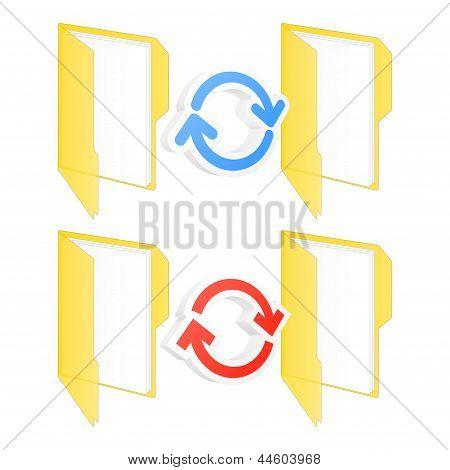 Synchronization Folder Icons. Vector Illustration