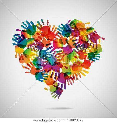 Colored heart from hand print icons