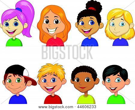 Boy and girl cartoon collection set