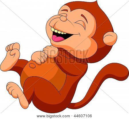 可爱的猴子卡通笑 库存矢量图和库存照片