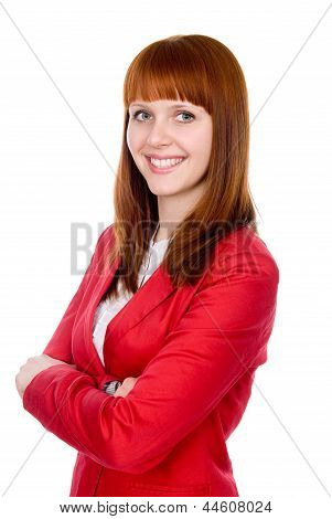 Portrait Of A Cheerful Business Woman In A Red Jacket.