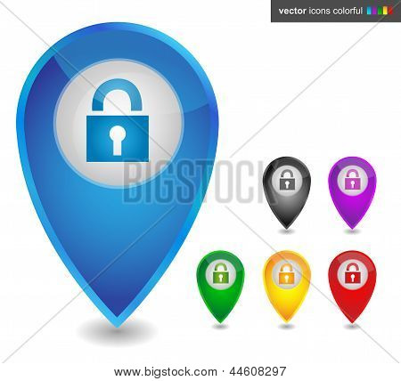 Map pointer with lock, icon colorful