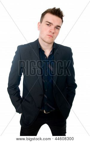 Portrait Of A Successful Young Business Man. Hands And Pockets.