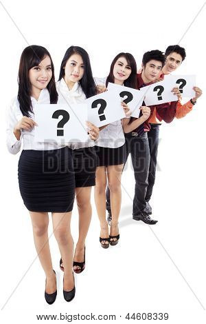 Business Recruitment, holding question marks sign