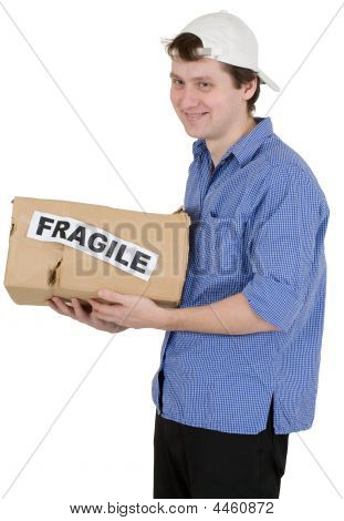 "Man Holded Cardboard Box With Inscription ""fragile"""