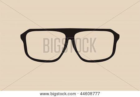 Black vector glasses with thick holder - retro hipster illustration isolated on beige background