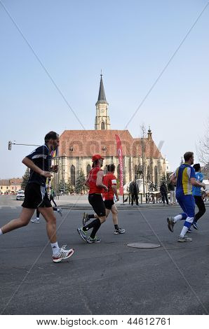 Participants running at the Cluj International Marathon