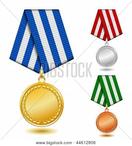 Gold, silver and bronze medals on patterned color ribbon.