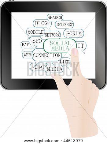 Text Keywords On Social Media Themes. Tablet Pc, art illustration
