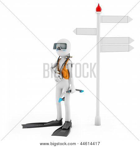 3D Man With Scuba Gear Near Signpost