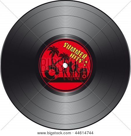Vinyl Record With Summer Hits Label