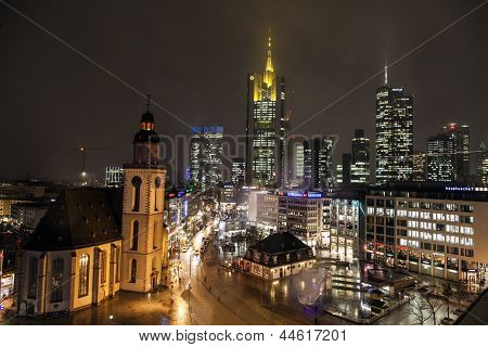 View To Skyline Of Frankfurt With Hauptwache And Skyscraper By Night