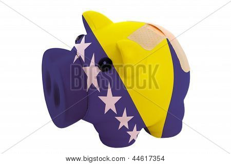 Closed Piggy Rich Bank With Bandage In Colors National Flag Of Bosnia Herzegovina