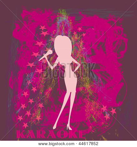Silhouette Of A Female Singer Performing