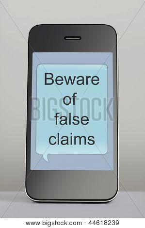 Telemóvel com Scam mensagem fala bolha