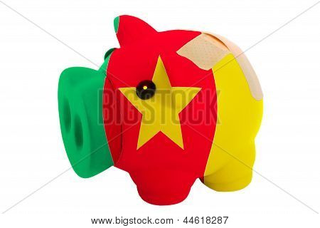 Closed Piggy Rich Bank With Bandage In Colors National Flag Of Cameroon