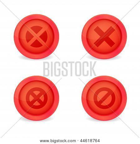 Set of glossy prohibitory icons