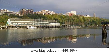 Thea Foss Waterway Waterfront Ridge Of Buildings North Tacoma Washington