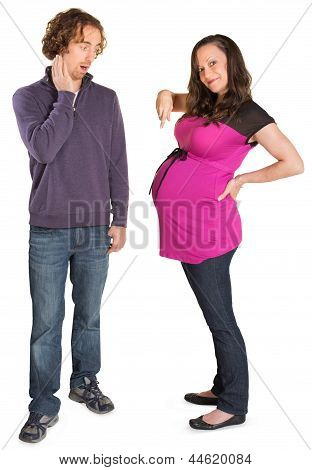 Surprised Man With Pregnant Lady