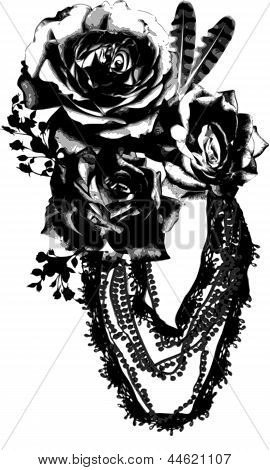 Isolated Vector of Rose Brooch with Beads, Flowers and Feathers