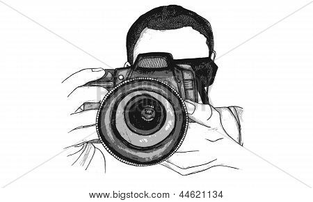Isolated Vector Watercolour Illustration of a Male Photographer with a Digital SLR Camera